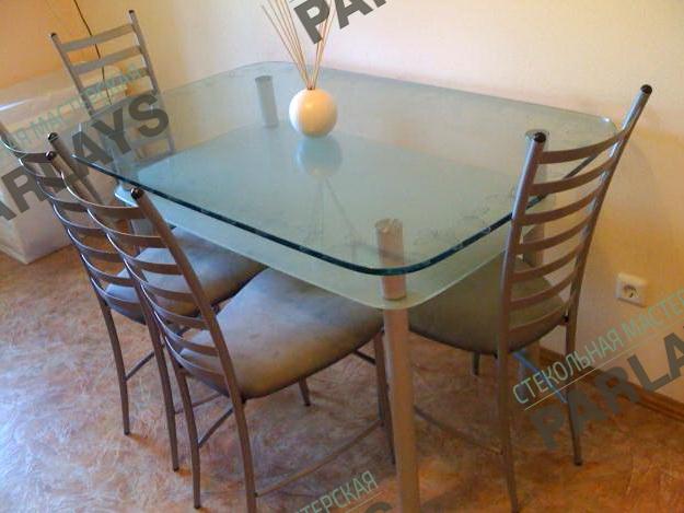 Кухонный стеклянный стол фото