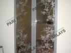 Раздвижные стеклянные двери с пескоструйным рисунком